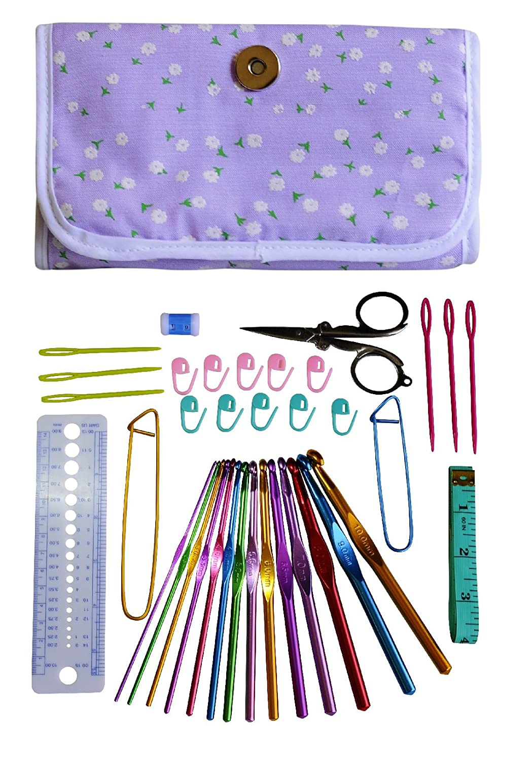DELUXE CROCHET KIT – 37 Items with 14 Crochet Hooks (Sizes