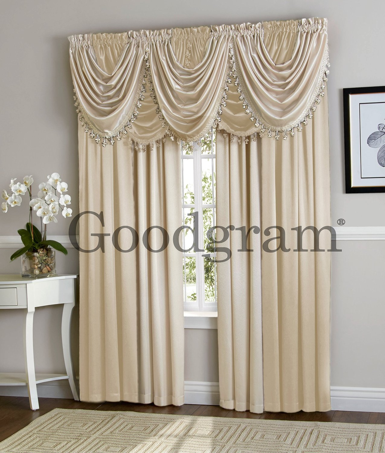Hilton Curtain Waterfall Fringed Single Valance Only Window Treatments Beige Ebay
