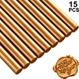 Nuanchu 15 Pieces Glue Gun Sealing Wax Sticks for Retro Vintage Wax Seal Stamp and Letter, Great for Wedding Invitations, Cards Envelopes, Snail Mails, Wine Packages, Gift Wrapping (Coffee Gold) (Color: Coffee Gold)
