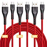 10ft Extra Long Micro USB Cable, CABEPOW 3Pack 10feet Nylon Braided Android Charging Cable Cord, High Speed USB Data Sync Charger Cable for Samsung, HTC, Motorola,Nokia,Kindle,MP3,Tablet and More-Red (Color: 3Pack 10ft, Tamaño: B07JBN6C5C)