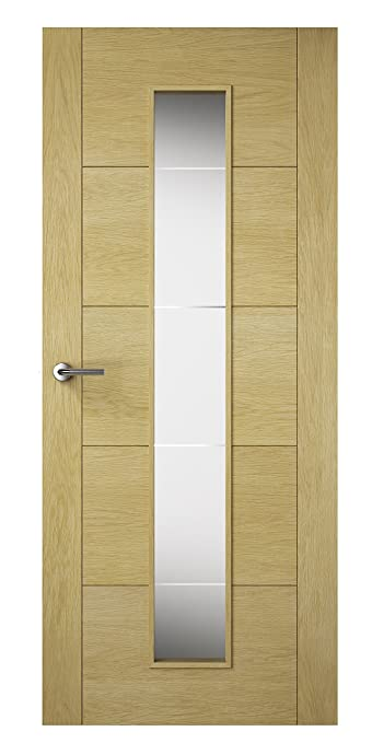 Premdor 82530 726 x 2040 x 40 mm Milano Solid Glazed Interior Door - Oak