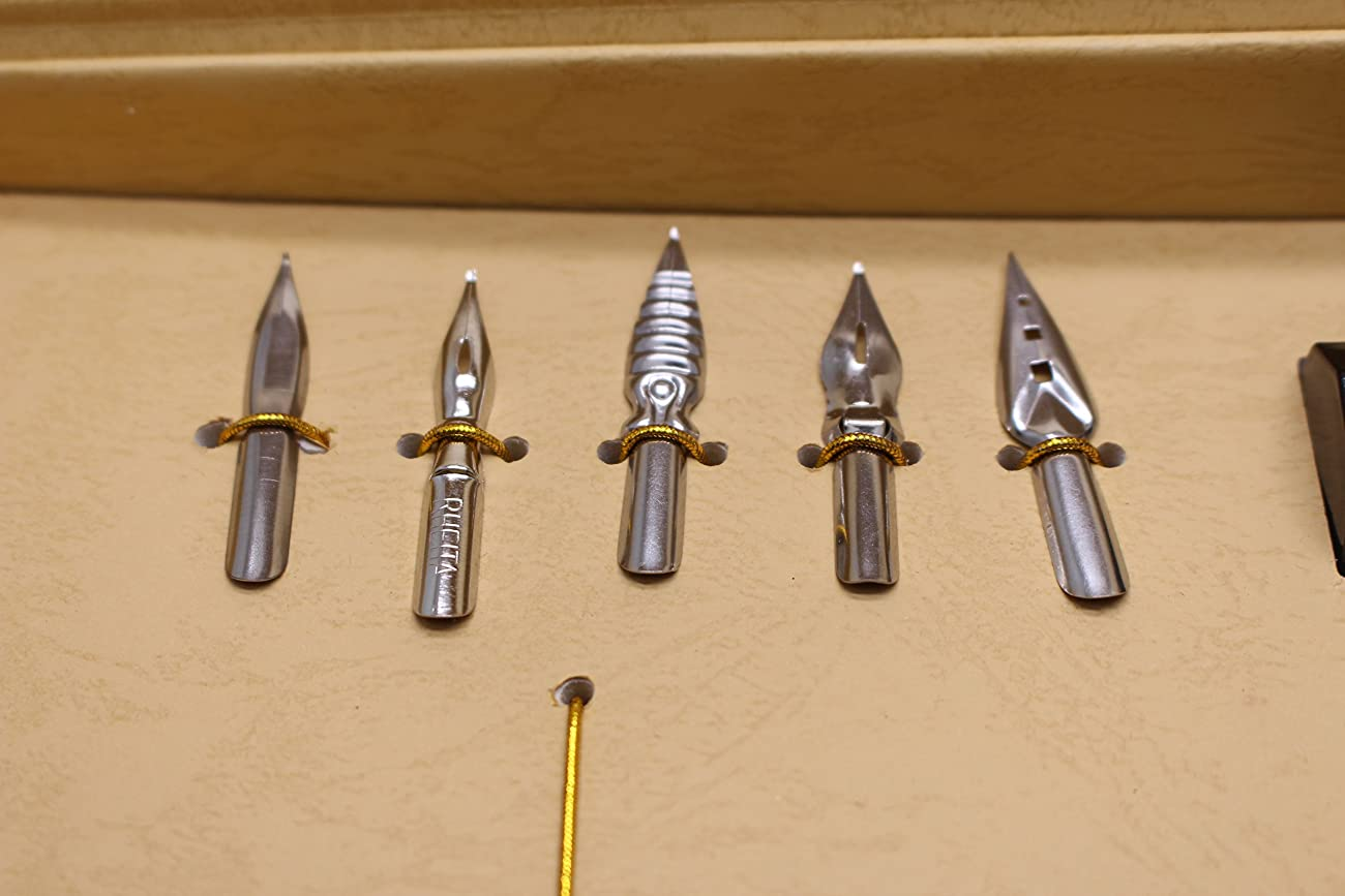 Calligraphy Set - Antique Copper Feather Pen Metal Nib Pen Writing Quill 4