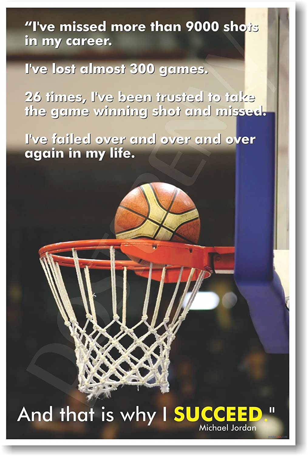 Michael Jordan That Is Why I Succeed - Classroom Motivational Poster