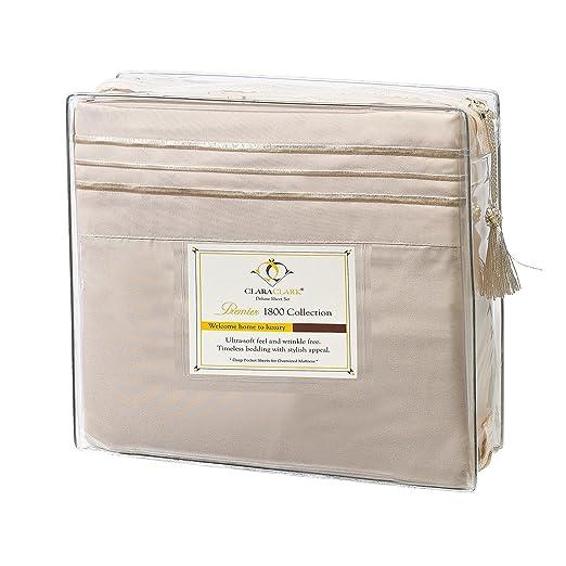 Clara Clark Premier 1800 Series, Queen Size 4 Pc. Sheet set Cream: Amazon.ca: Home & Kitchen