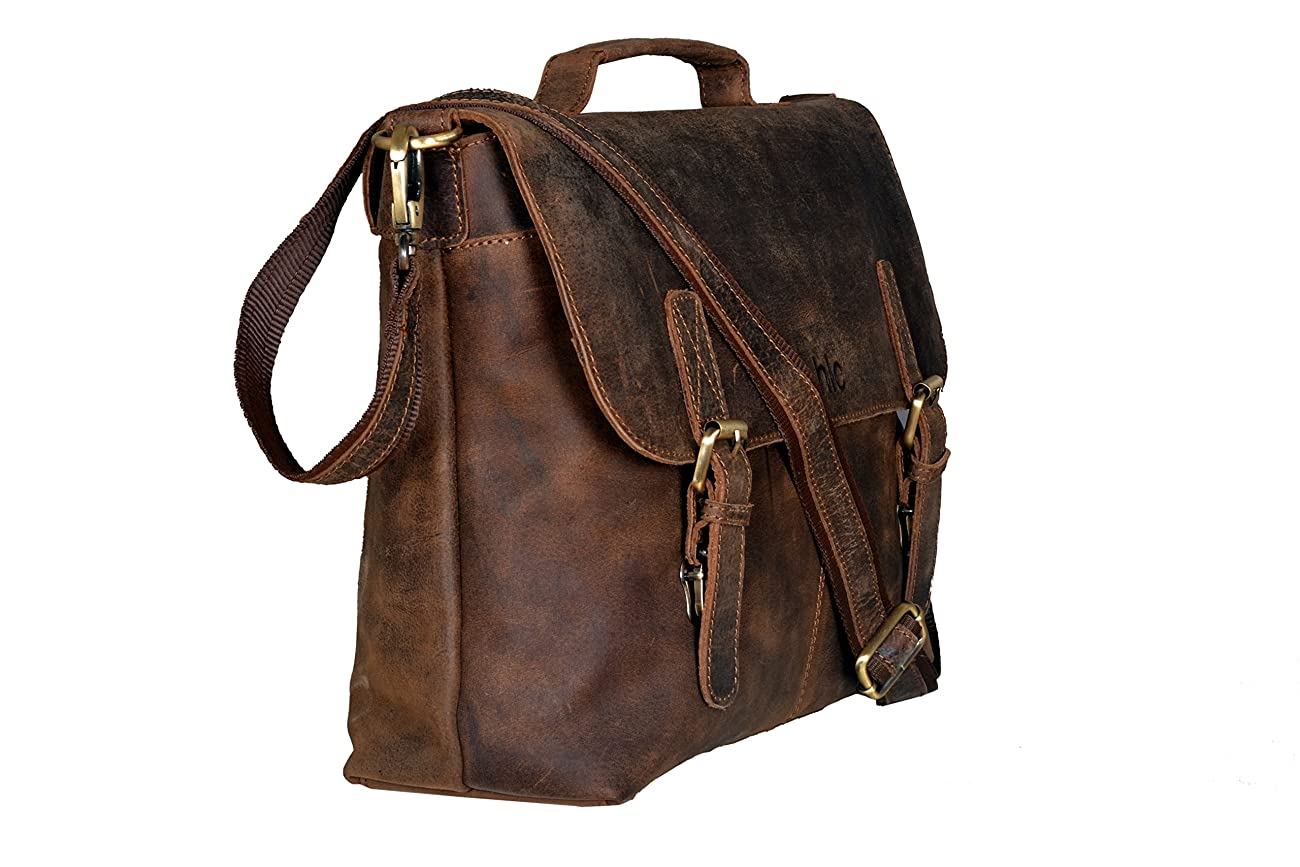 Handolederco Vintage Buffalo Leather Messenger Satchel Laptop Briefcase Men's Bag Crazy Vintage Leather Messenger Briefcase Bag 1