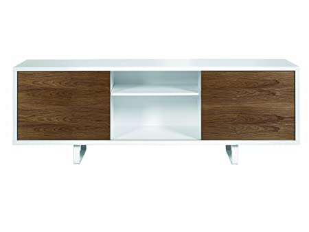 TemaHome Wood Honeycomb Panel Slide Sideboard without Drawers with Pure White Matte / Walnut Veneer, 198 x 45 x 73 cm, White