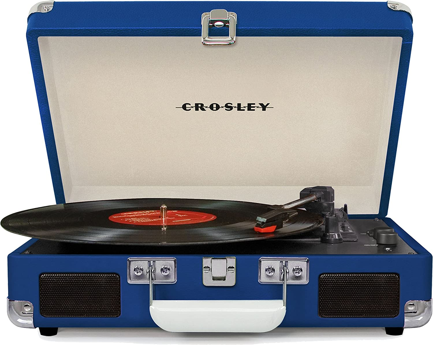 Crosley CR8005D-BL Cruiser Deluxe Portable 3-Speed Turntable