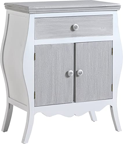 Entry Shaped Cabinet Pine 1 Drawer 2 Door White Washed Grey
