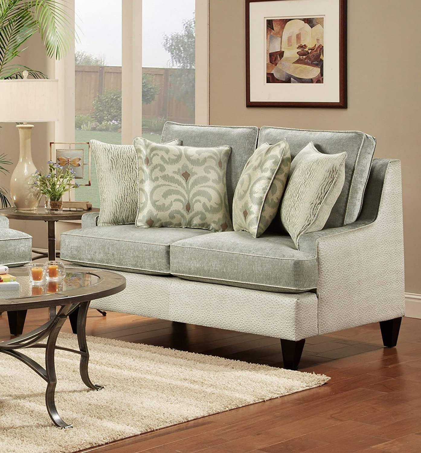Chelsea Home Furniture Catania Loveseat - Xanadu Crystal/Emu Ice with Amisha Climate/McAniff Algae Pillows