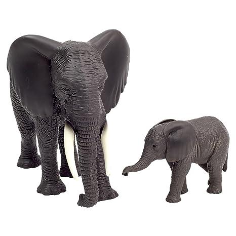 Ensemble 2 Pièces Figurines Réalistes - Éléphant d'Afrique et son Bébé - Planète des Animaux