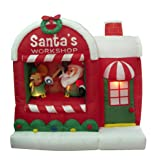 5 Foot Christmas Inflatable Santa Claus Workshop Yard Decoration (Color: Multicolor)
