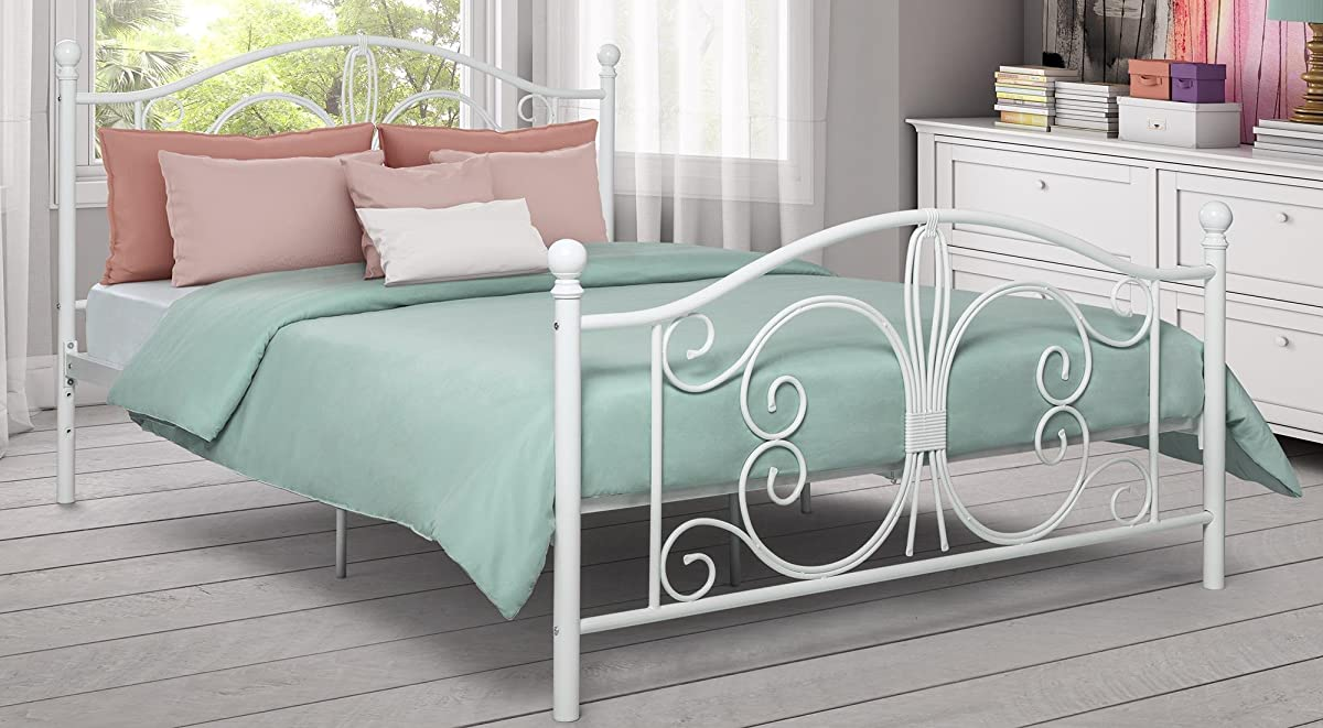 DHP Bombay Metal Bed Frame, Vintage Design and Includes Metal Slats, Full Size, White