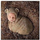 Newborn Baby Photography Props Boy Girl Crochet Costume Outfits Cute Hat Sleeping Bag (Color: Dark Blue, Tamaño: Medium)