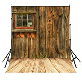 LYLYCTY 5x7ft Rustic Barn Door Wall Photography Background Yellow Wooden Floor Photo Backdrop Studio Props Wall LY002 (Color: Yellow)