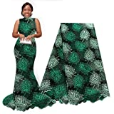 pqdaysun African Lace Fabric Swiss 5 Yards 2019 Nigerian Lace French Beaded Tulle Fabric Wax Fabric for Wedding Party (Dark Green) (Color: dark green, Tamaño: 5 yards)