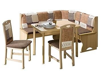 Schösswender Eckbankgruppe Köln in Buche Dekor besteht aus Vierfußtisch mit Auszug und zwei Stuhlen, Bezug Braun uni und beige gemustert
