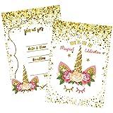 24 Unicorn Invitations Large Set Giltter Unicorn Face with 24 Envelopes Double Sided