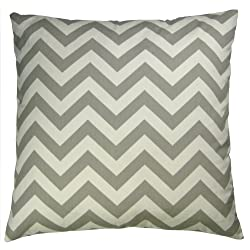 JinStyles Cotton Canvas Chevron Striped Accent Decorative Throw Lumbar Pillow Cover (Gray & White Rectangular)