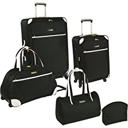 Nine West Round Trip 5 Piece Expandable Spinner Luggage Set for