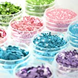 Glitter Wenida 12 Colors Holographic Cosmetic Festival Powder Sequins Craft Glitter for Arts Face Hair Body Nail (Color: 4 Colors # 3, Tamaño: 12 Boxes)