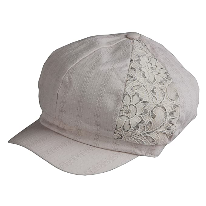 Morehats Floral Lace Slouchy Cabbie Gatsby Newsboy Beret Cap - Ivory