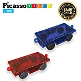 PicassoTiles® 2 Piece Car Truck Set w/ Extra Long Bed & Re-Enforced Latch, Magnet Building Tile Magnetic Blocks -Creativity Beyond Imagination! Educational, Inspirational, Conventional,& Recreational! (Tamaño: 2 Piece)