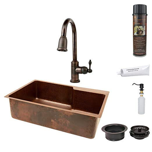 Premier Copper Products KSP2_KSFDB33229 33-Inch Hammered Copper Kitchen Single Basin Sink with Pull Down Faucet, Oil Rubber Bronze
