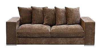 Amaris Elements | Samtsofa 'Cooper' 3-Sitzer, Samt aus Mikrofaser, inklusive 5 Kissen, Couch Landhausstil, braun,  224x106x65x45 cm