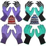 4 Pairs Garden Gloves With Fingertips Claws,Best Gift For Gardener,2 Pairs Working Genie Gloves With Double Claws,2 Pairs without Claws,For Digging an