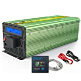 EDECOA Pure Sine Wave Power Inverter 2500W Peak 5000W DC 12V to 110V AC with LCD display and Remote Controller (Color: Green)