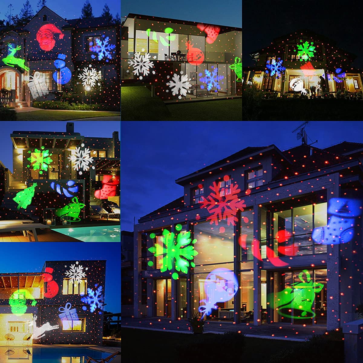 UNIFUN Christmas Laser Projector Light Bright Led Landscape Spotlight Indoor and Outdoor Waterproof Projection Led Lights for Holiday, Christmas Decorations