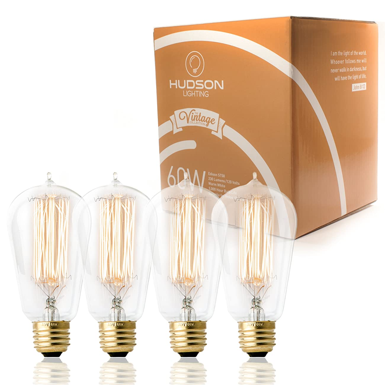 TOP RATED Hudson Lighting Vintage Antique Style Edison Bulb - 4 Pack - ST58 - Squirrel Cage Filament - 230 Lumens - 60 Watt - Dimmable - E26 Bulb Base - Classic Squirrel Cage Filament - Tear Drop Top 0