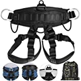 Happybuy Climbing Harness Fall Protection Rock Climbing Equip Gear Rappelling Harness with 3 D-Rings for Rock Climbing Rappelling Downhill Skiing (Color: Black Half Body)