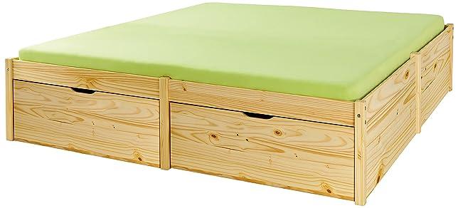 Letto matrimoniale contenitori in legno pino massiccio 180 x 200