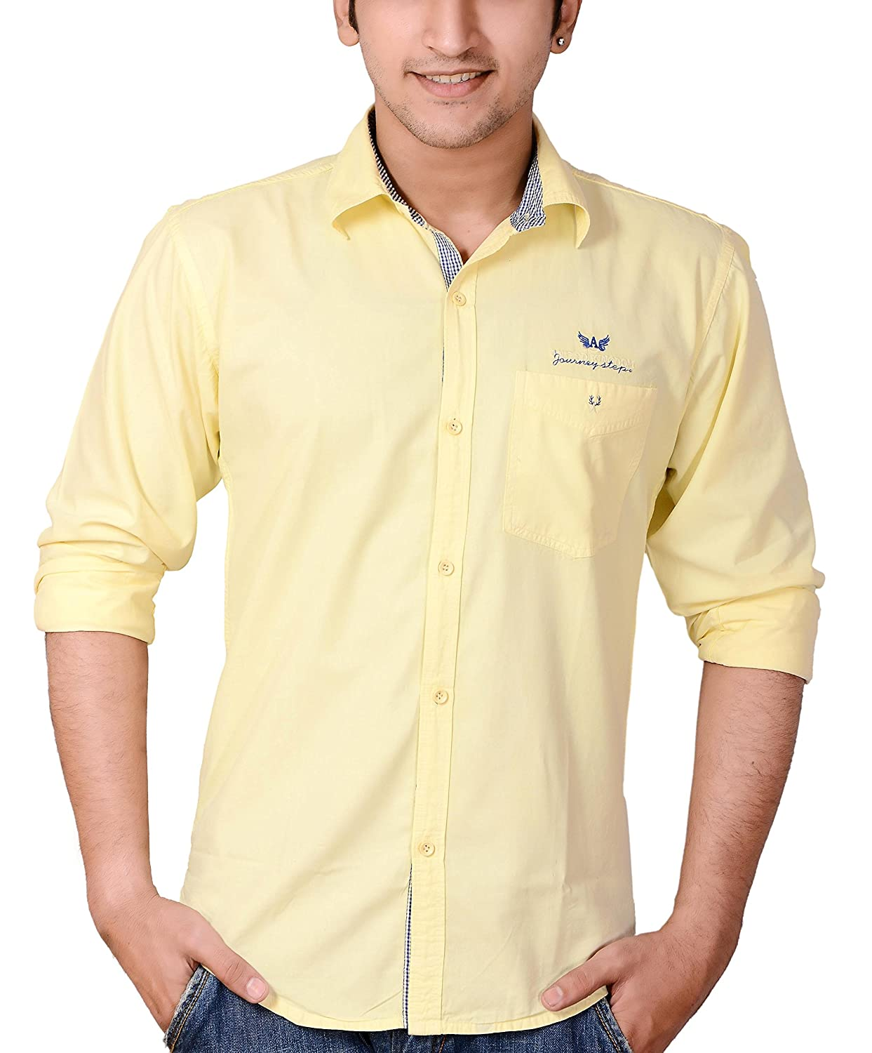 Deals on  Yellow Cotton Casual Shirts for Men