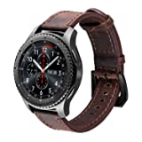iBazal Gear S3 Watch Band, Gear S3 Frontier/Classic Band with Black Clasp, 22mm Genuine Leather Band Replacement Band for Samsung Gear S3 Frontier/Classic SM-R760 - Coffee + Black Clasp …