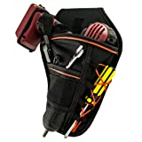 Drill Holster by Bastex - Heavy Duty Belt Worn Right Handed Holder, Fits Most T Handle Drills - Black and Orange (Color: Black/Orange)