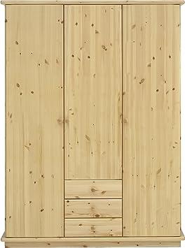 Steens 2523080819 Kleiderschrank Romo 208 x 156 x 60 cm Kiefer massive, natur lackiert mit glatten Fronten