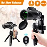 Monocular Telescope 12x50 High Power Waterproof Monocular Scope with Phone Mount & Tripod Monocular Compact Fogproof Shockproof Scope BAK4 Prism FMC Monoculars for Adults Hunting Camping Travelling (Color: Gold-8)