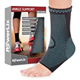 PowerLix Ankle Brace Compression Support Sleeve (Pair) for Injury Recovery, Joint Pain and More. Plantar Fasciitis Foot Socks with Arch Support, Eases Swelling, Heel Spurs, Achilles Tendon (Color: Blue, Tamaño: X-Large)