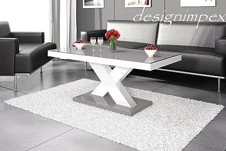 Design Couchtisch H-888 Weiß / Grau Hochglanz Highgloss Tisch Wohnzimmertisch