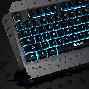 c933da8b038 ... KLIM Lightning Gaming Keyboard - Semi Mechanical - Led 7 Colors Light  Up, Metal Frame