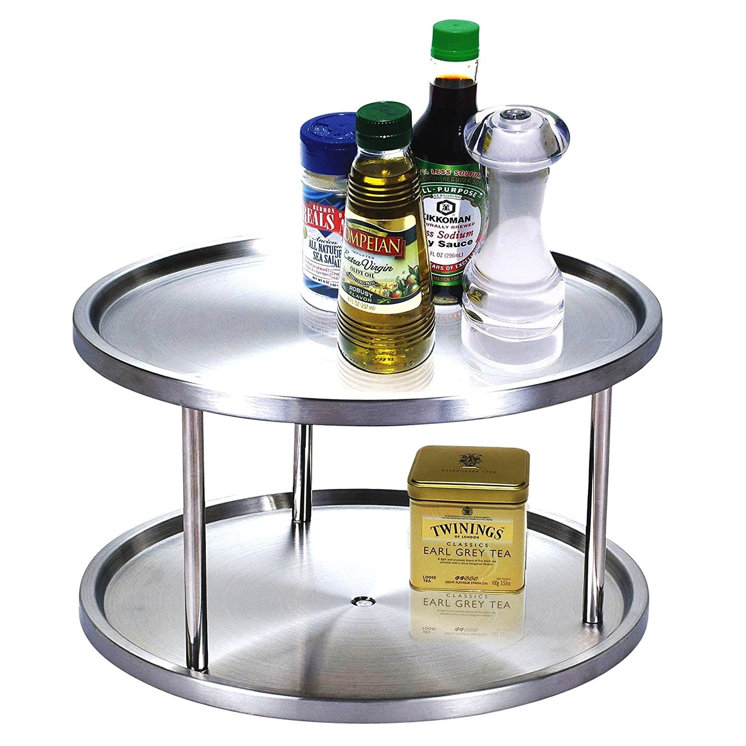 Cook N Home 10-1/2-Inch 2 Tier Lazy Susan - This handy 2 tier lazy Susan is 360-Degree turntable ideal for cabinets or counters