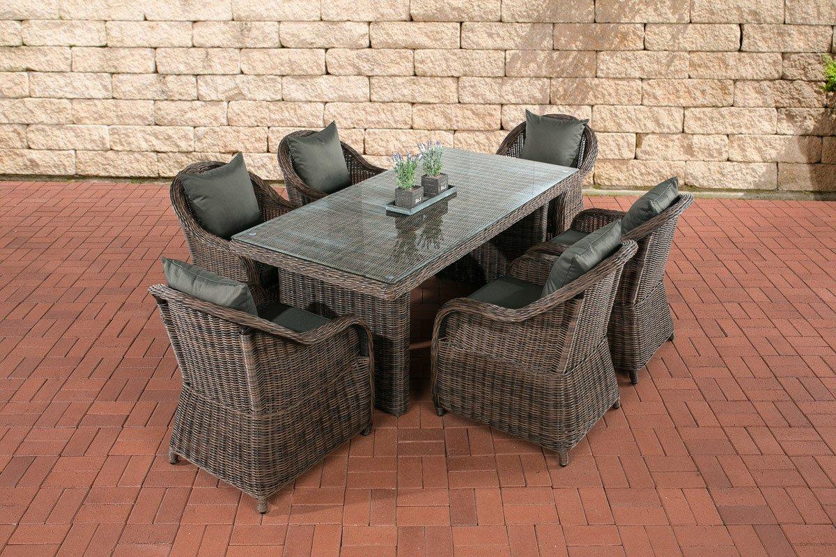 CLP Polyrattan Sitzgruppe LAVELLO braun-meliert, 6 Sessel inkl. Polster + Tisch 180 x 90 cm, Premiumqualität: 5 mm Rund-Rattan braun-meliert, Bezugfarbe anthrazit