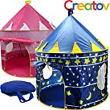 Kids Play Tent Indoor Outdoor - for Boys Girls Baby Toddler Playhouse Prince House Castle Blue Foldable Tents with Carry Case by Creatov