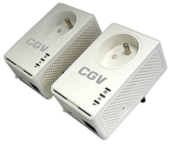 CGV CPLine 2B-200M Pack de 2 Adaptateurs CPL Ethernet Powerline 200 MB/s HomePlug AV