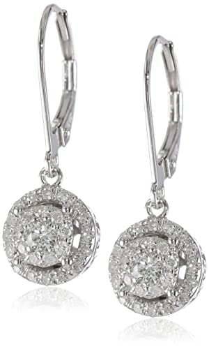 14k-White-Gold-Diamond-Cluster-Circle-Drop-Earrings-0-44-cttw-H-I-Color-I1-I2-Clarity-