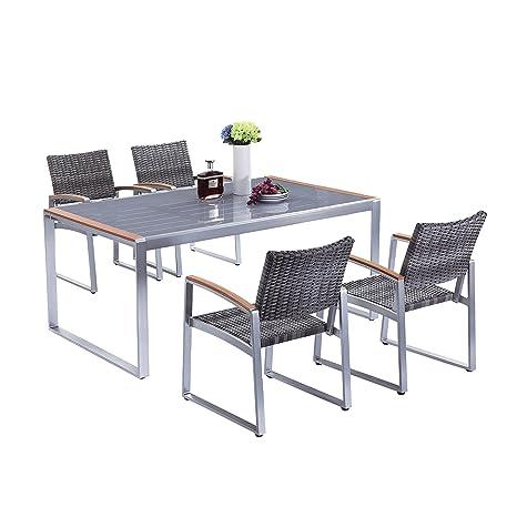 Gartenmöbelset Sitzgruppe Ava, 5 tlg. geflochten