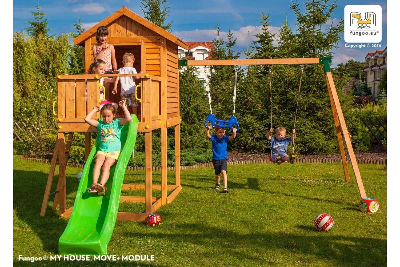 Fungoo ® My House Move+ Spielturm Set mit Rutsche und Schaukel Farbe blaue Rutsche jetzt kaufen