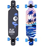 Playshion 39 Inch Drop Through Freestyle Longboard Skateboard Cruiser (Color: coconut tree, Tamaño: 39 inch)